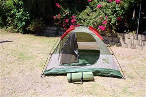 Camp Master Tent - 2 man-plus sleeping mat ans 2 x folding chairs