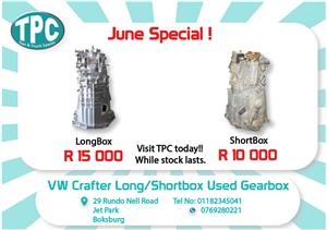 VW Crafter Used Long/Shortbox Gearbox for Sale at TPC