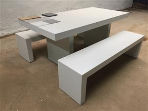 White Dining room table with 2 Benches