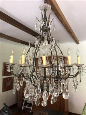 an original antique christal chandelier