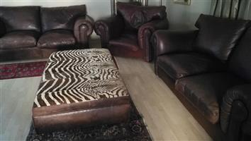 Coricraft 2 Large beautiful kudu genuine leather 2.1m couches plus matching massive 1.3m single seater..