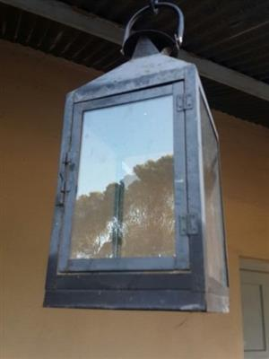 Black metal and glass lantern for use with candle or convert to electric bulb