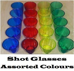 Shot Glasses: Single Tot 25ml in Assorted Colours. Brand New Products.