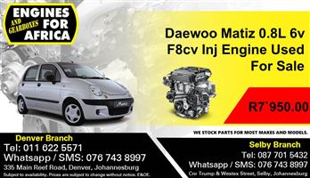 Daewoo Matiz 0.8L 6v F8cv Inj Engine Used For Sale