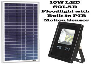 Solar LED Floodlights with built-in PIR Motion Sensor 10W.  Brand New Products.