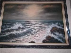 Rough seas framed painting