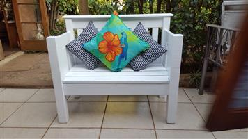 Beautiful solid wood white bench.