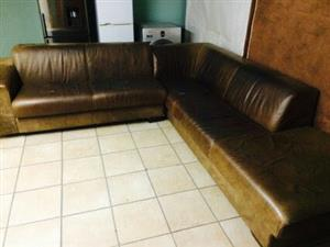 Large L leather couch
