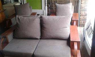 3 Piece Lounge suite 2 Chairs 1 Couch Refurbished Antique Teak with Mocha colour linen. Art Deco style.