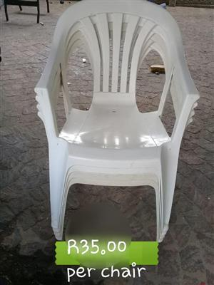 White outdoor plastic chairs for sale