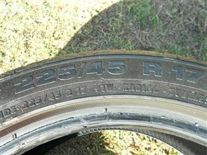 4 USED CONTINENTAL 225/45/17INCH TYRES FOR SALE