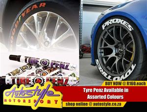 Tyre pen to paint tyres assorted colors including reflective options.