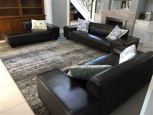 Leather Lounge Suite x 3 Couches. (GENUINE Leather). Dark Brown, Full Hide Leather Set