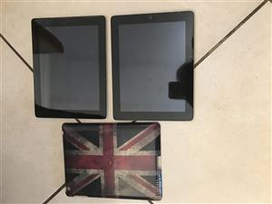 iPads qty x 2, 16GB, Wi-Fi, with one cover
