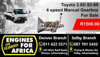 Used Toyota 1B 3.0D 82-89 Manual 4Speed Gearbox For sale