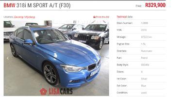 2016 BMW 3 Series 318i M Sport auto