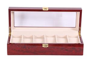 Hazlo Wooden Jewellery Watch Display Case Box Organizer - 6 Slot Compartment - Cherry Wood