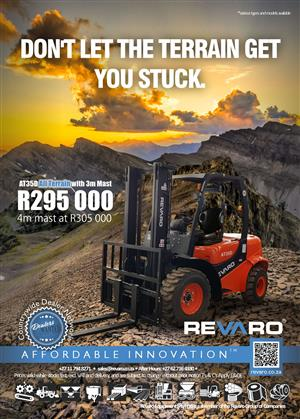 New Revaro 3.5 Ton All Terrain forklifts on special Plus great value on our impressive range