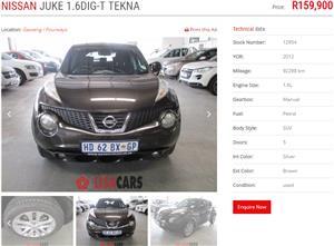 2012 Nissan Juke 1.6T Tekna Techno