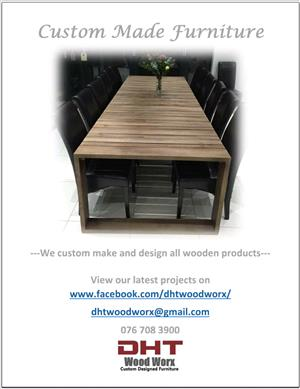 Custom made dining room tables, coffee tables, serving units. ANY SIZE, COLOUR AND DESIGN