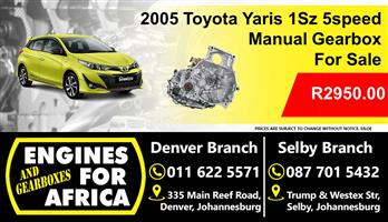 Used Toyota Yaris 1Sz 1.0L Manual 5speed Gearbox For Sale