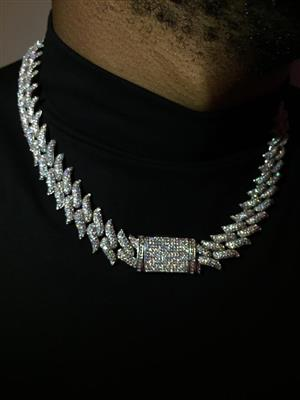 18K Spike Cuban Link Chain/necklace/Choker with 3A Zircon Diamonds(CZ Stones), 18inches, Unisex