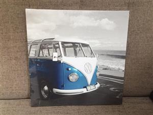 Cool Kombi canvas poster on wood frame