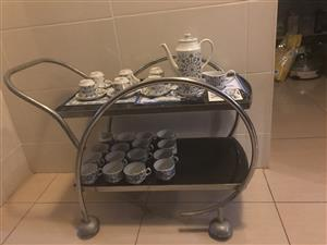 Art decor chome and glass drinks trolley