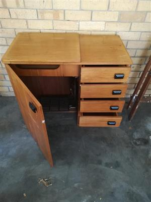 Old Sewing Machine Table / Cupboard - Solid Wood