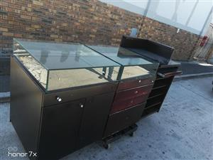 Shop glasstop display counter for sale.