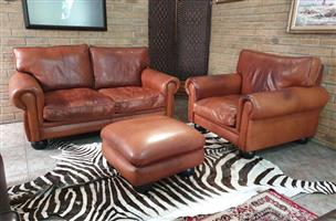 Original Jan Ellis 3pc KUDU Leather Lounge Set, 2 seater, Single Seater and Ottoman