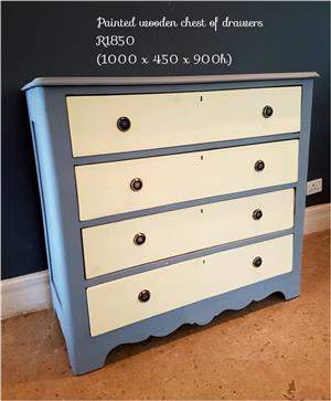 Blue and white painted chest of drawers
