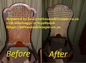 Repairs to rattan, riempie, cane etc