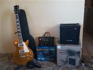 Guitar, amp and effects pedal set