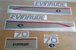 1996 Evinrude 70 outboard motor cowl decals stickers / vinyl cut graphics kits