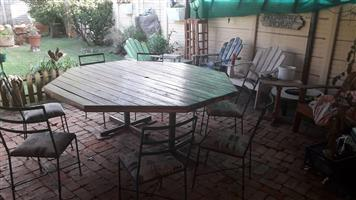 Octagon table and chairs