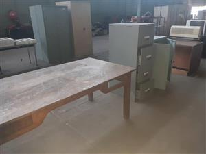 Filing cabinet and large wooden table
