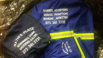 Overalls/worksuits and all other types of clothing printed and embroided