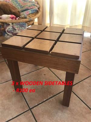 3 Wooden side tables