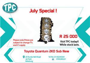 Toyota Quantum  2KD Sub New for Sale at TPC