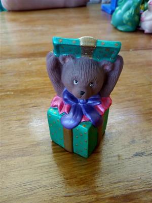 Teddy in green box ceramic ornament