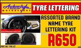 Brand Name Tyre Lettering Kit 25mm 4pc R650