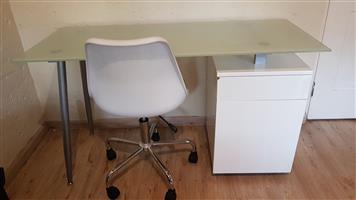 White office desk + chair