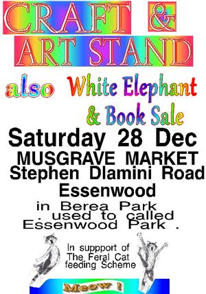 Craft and Art items for sale also White Elephant and Books 28 Dec Musgrave Market