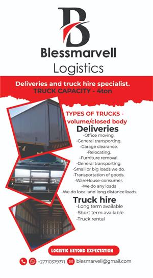 Truck 4ton for hire
