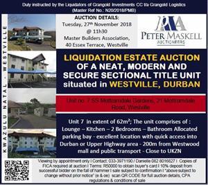 For sale by public auction - Unit No. 7 SS Mottramdale Gardens, Westville