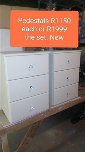 White 3 drawer pedestals for sale