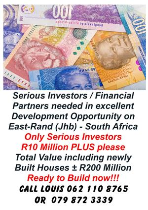 Investors Needed for R200 Million Project-East Rand