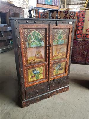 Lion and bird painted 2 door cabinet drawer