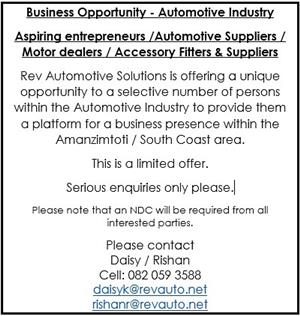 BUSINESS OPPORTUNITY - AUTOMOTIVE INDUSTRY